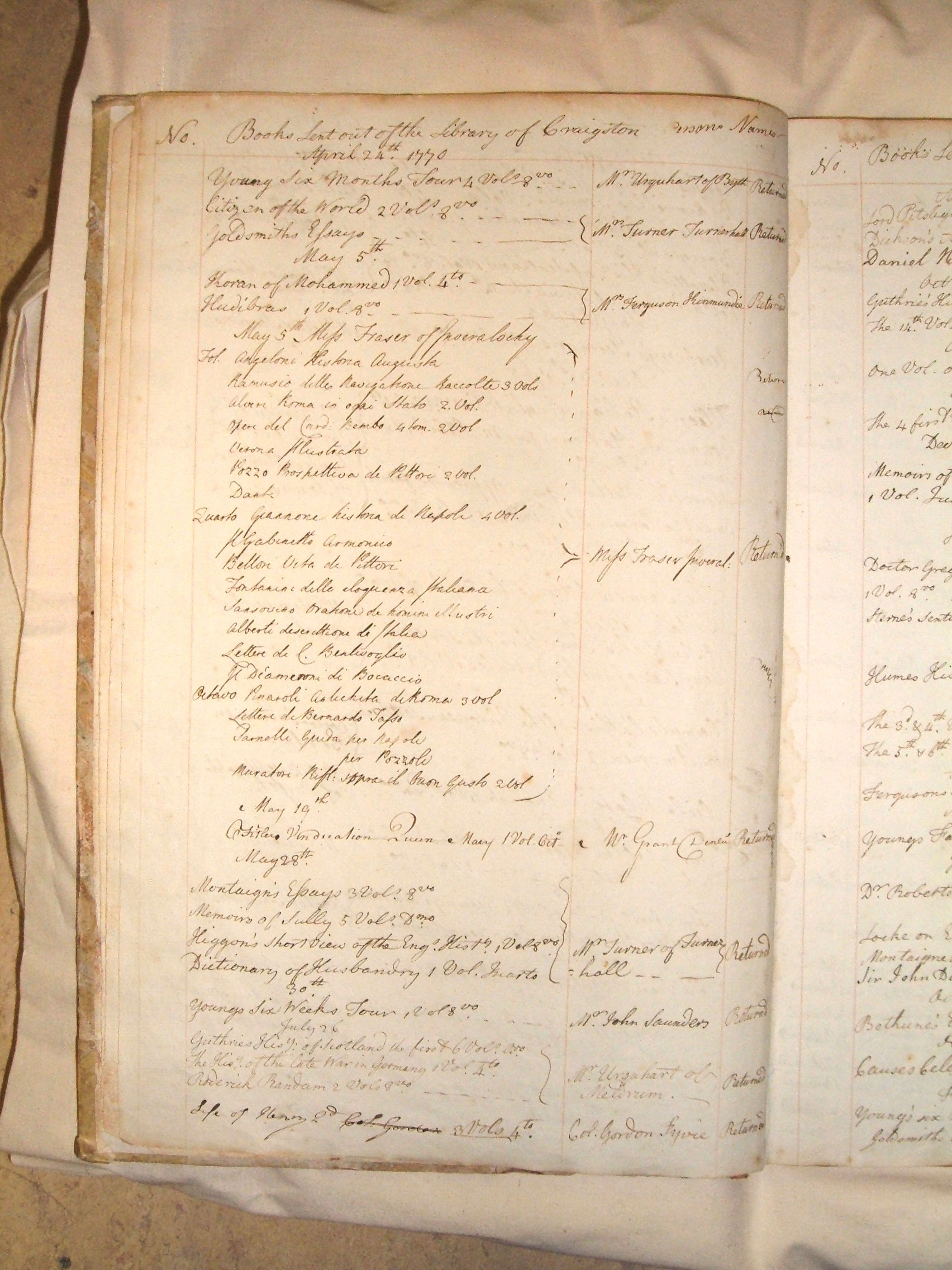 sample page from Craigston Castle borrowing register