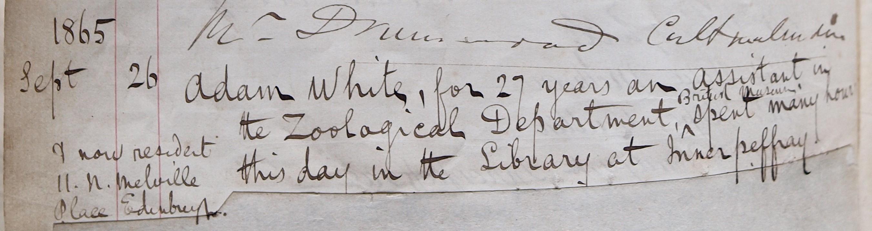 Adam White, September 1865, Innerpeffray Library Visitors Book volume 1, f.10v