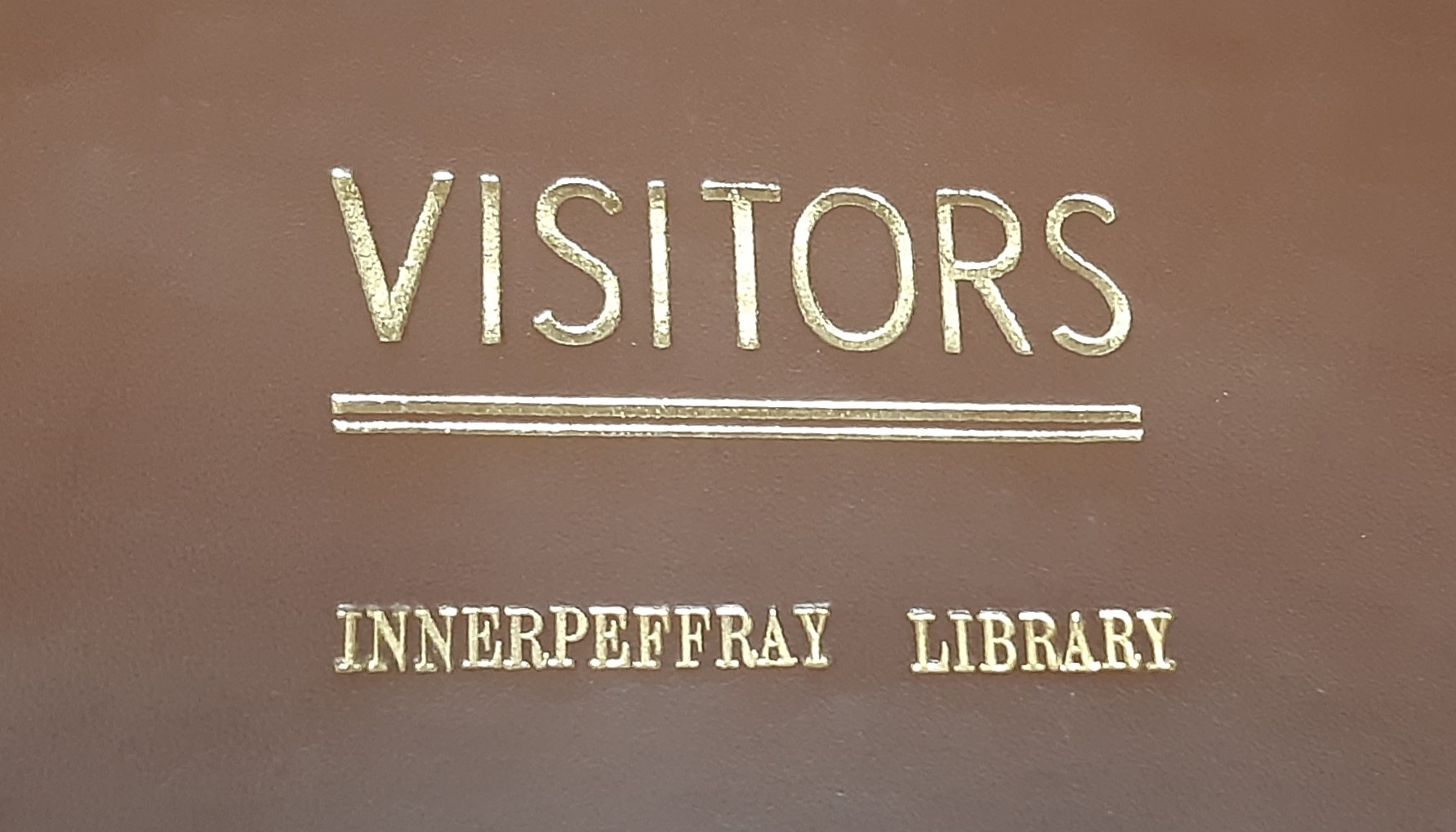 Illustration of the Innerpeffray Library Visitors Book volume 1, cover.