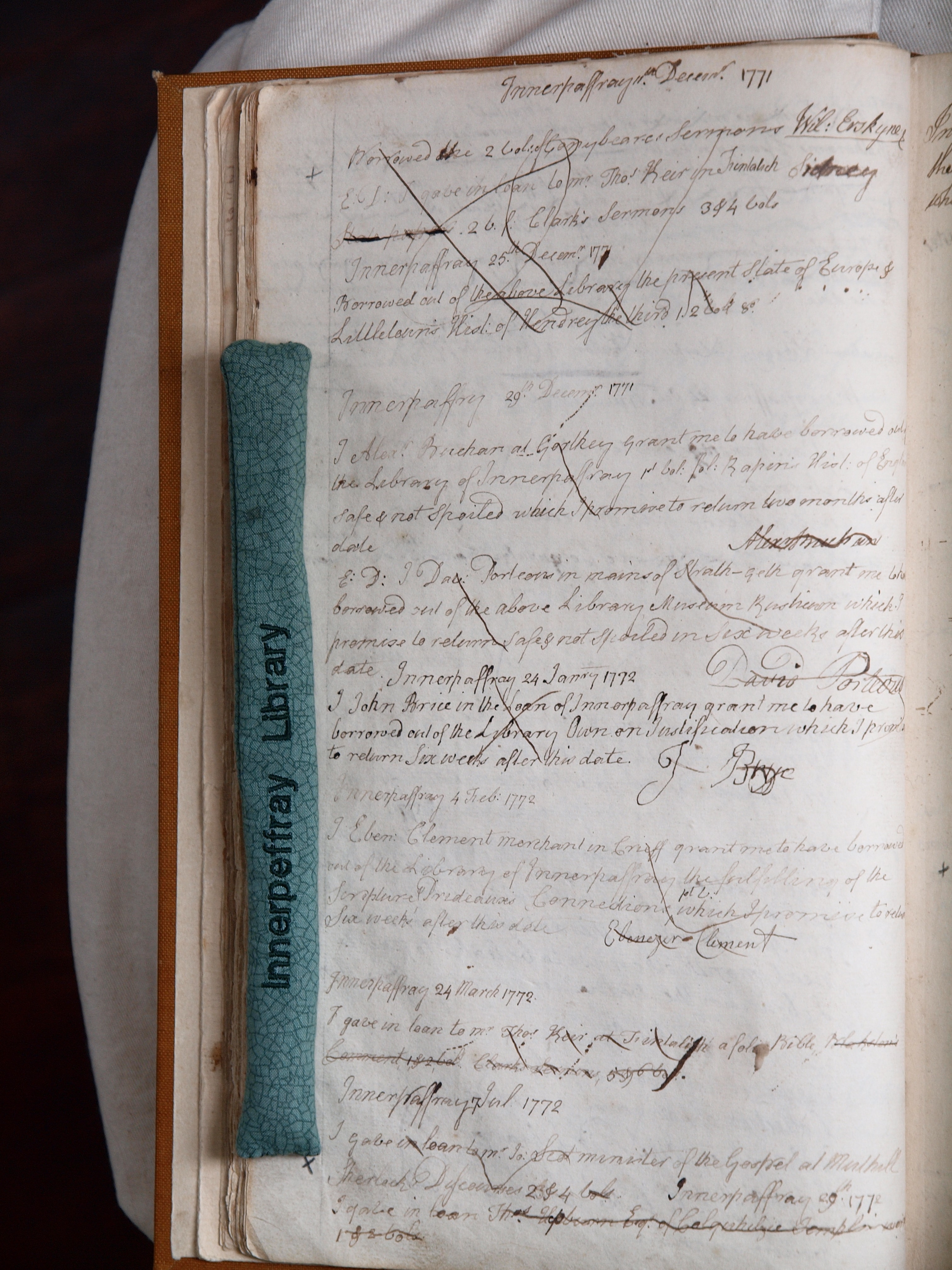 December Borrowings, 1771. Innerpeffray Borrowers' Register, Vol. 1. By kind permission of the Trustees of the Library of Innerpeffray.