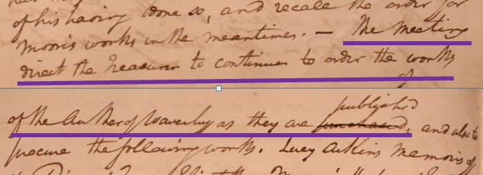 Detail from Wigton Library's minute book requesting the treasure to acquire the works of the author of Waverley.