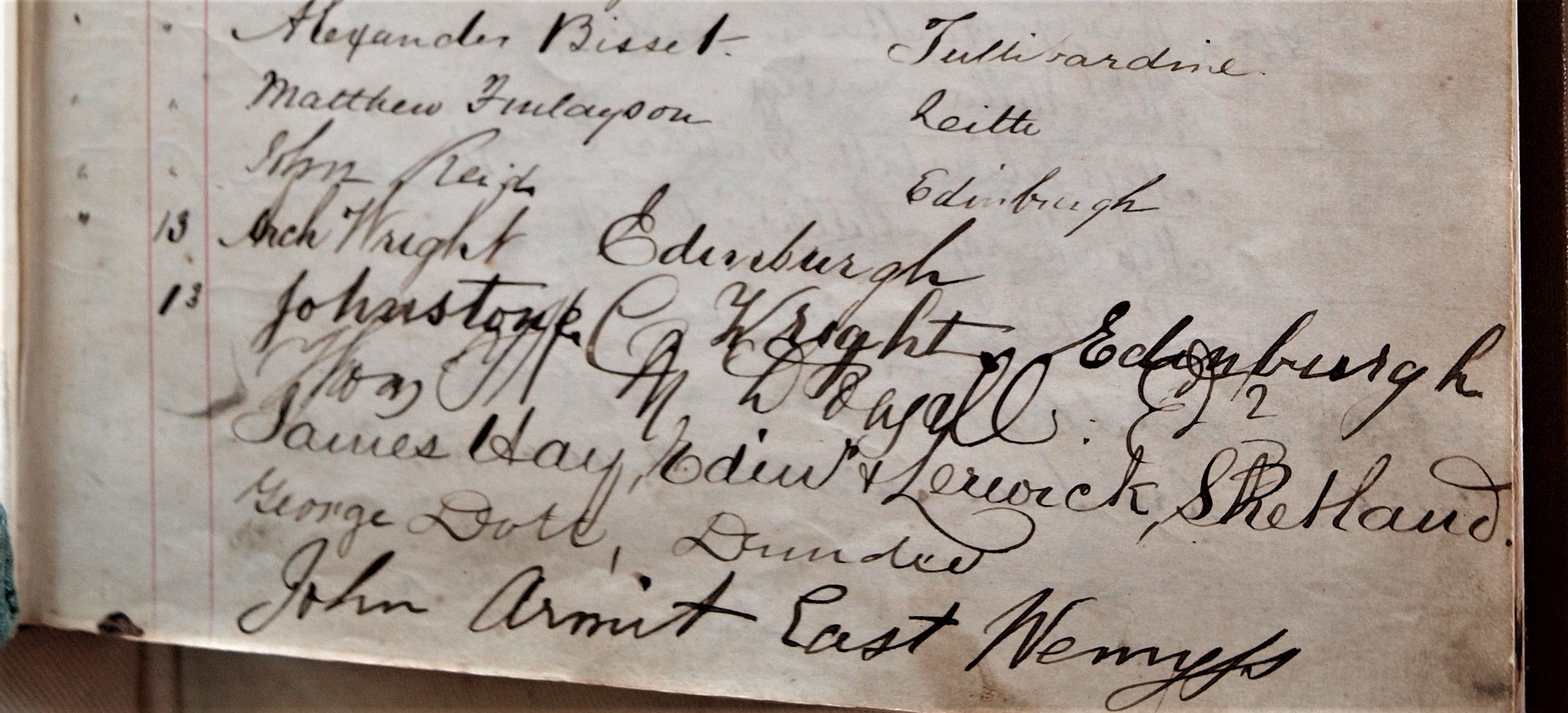 Innerpeffray Library Visitor Book Volume 1, f.11r, showing visitors in August 1866