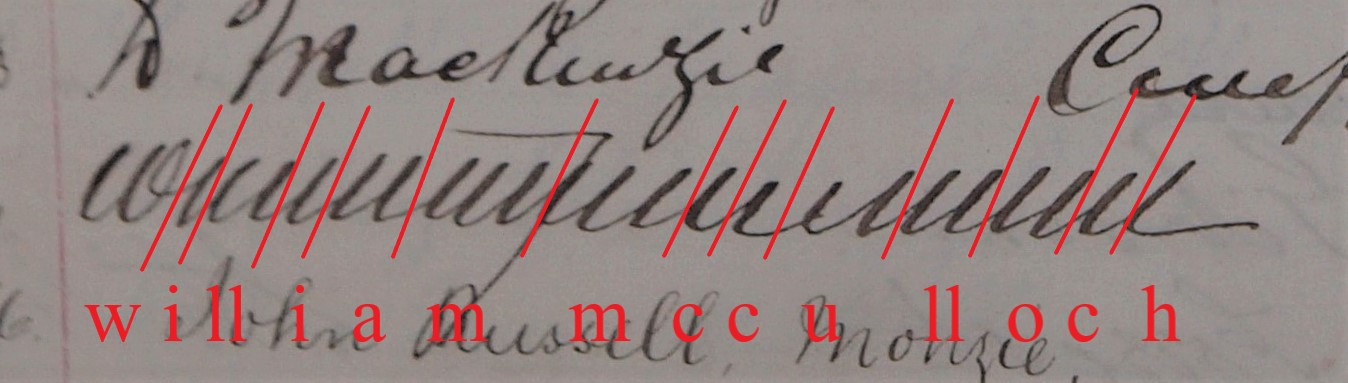 Innerpeffray Library Visitor Book Volume 1, f.40v, annotated to mark separate minims and show the name William McCulloch.