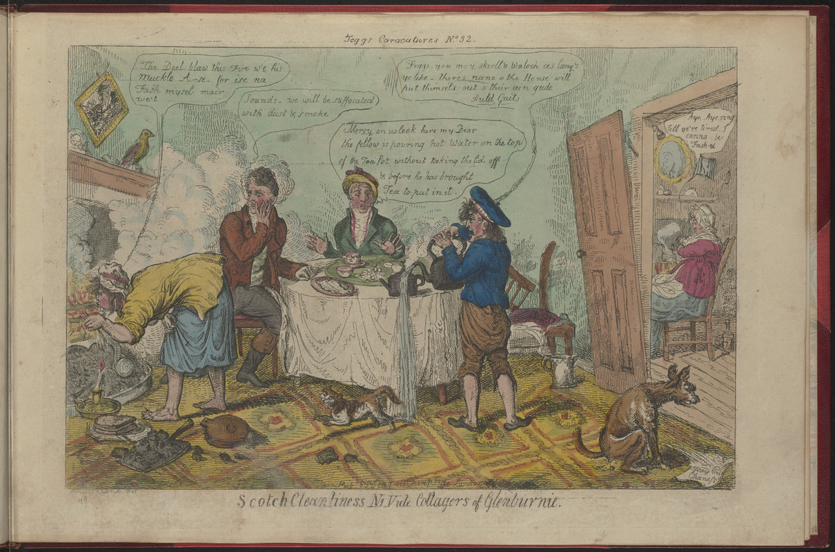 Isaac Cruickshank, Scotch Cleanliness ni vide Cottagers of Glenburnie (1808-27). Boston Public Library. This caricature suggests the popularity of Hamilton's novel in its day