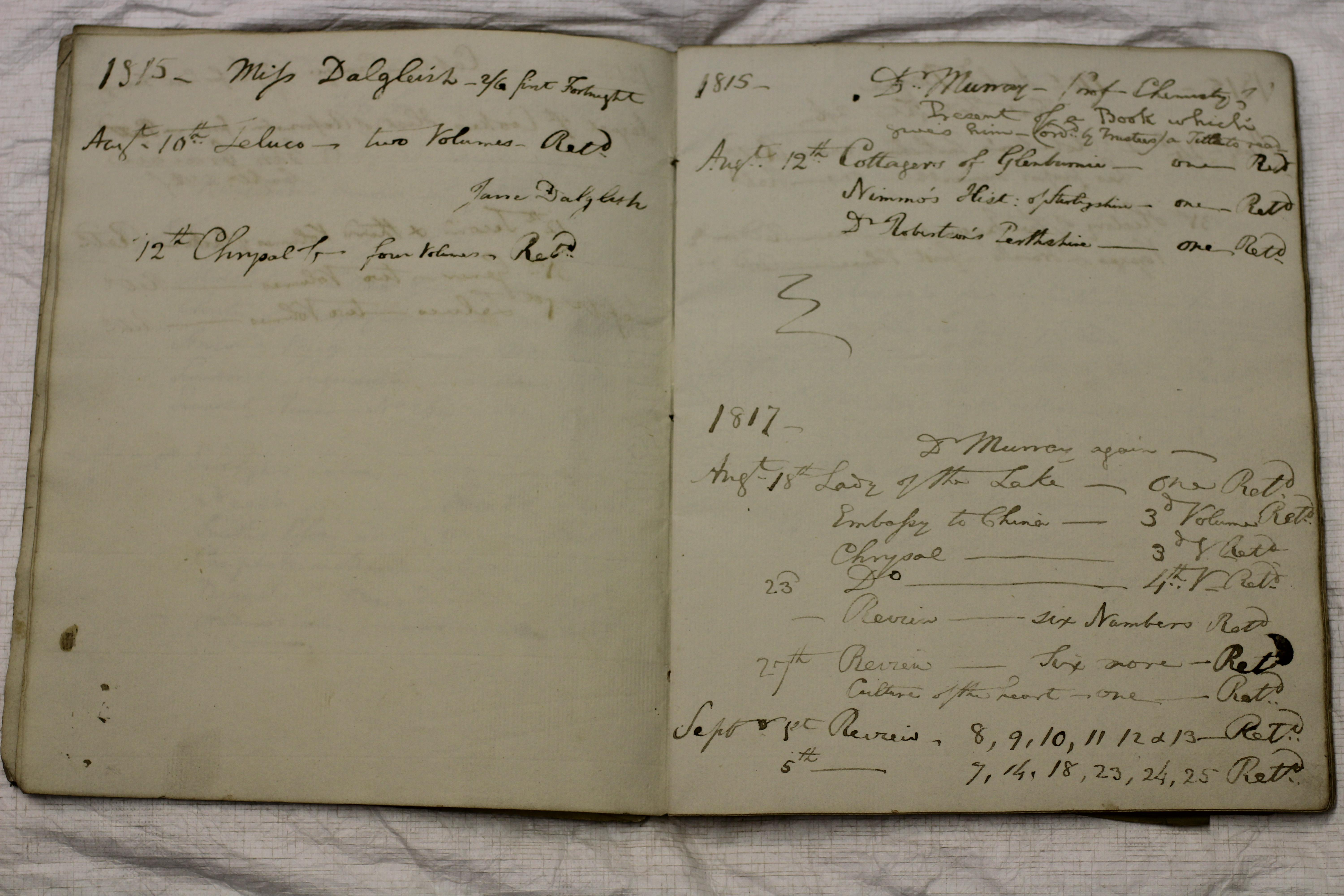 Leighton Library Water Drinkers' Register, pp.5-6, showing Miss Dalgleish's borrowing of Zeluco, and Dr Murray's of The Cottagers of Glenburnie, both in 1815