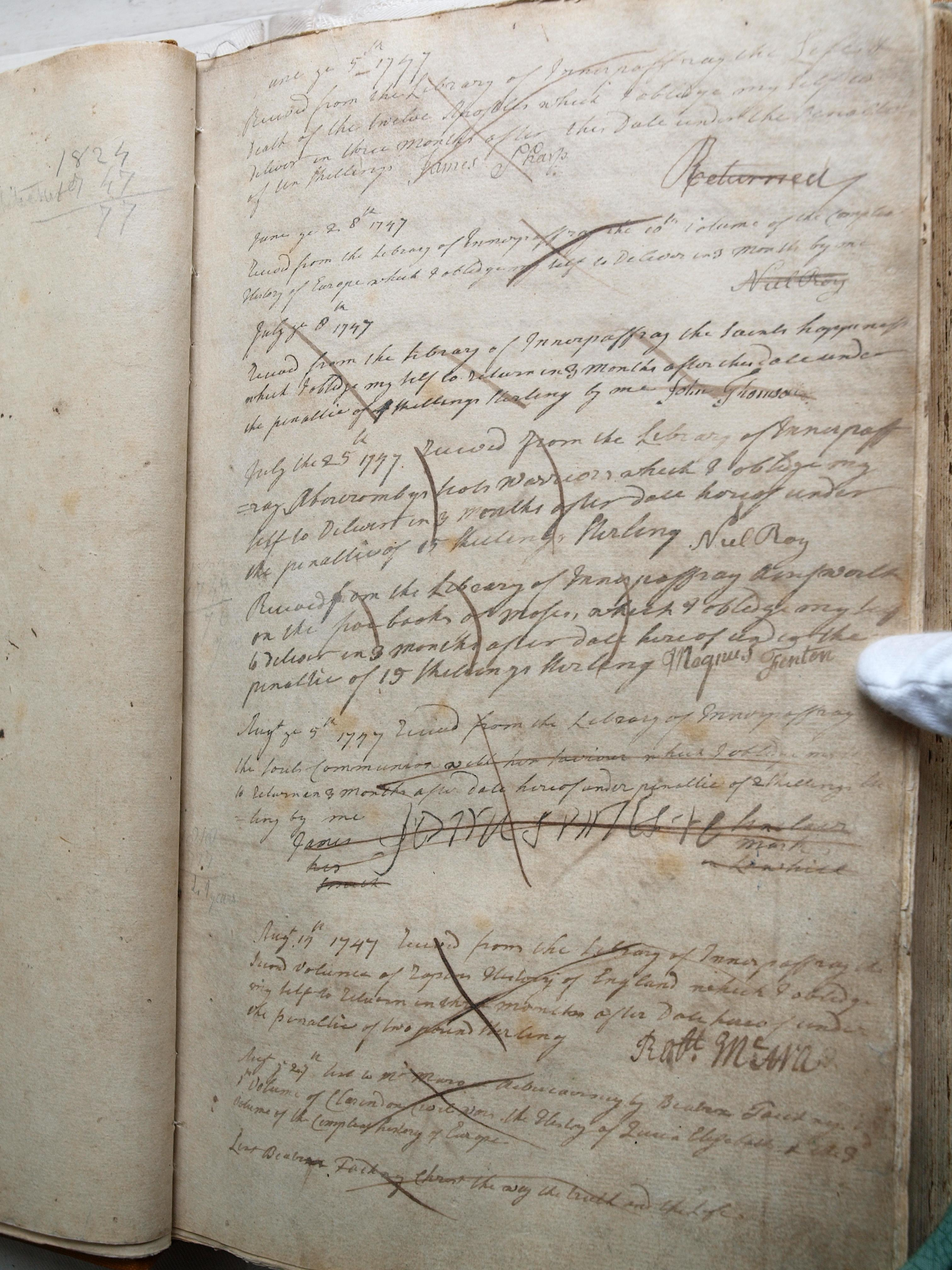"""Innerpeffray Borrowers' Register, vol 1, f 1r """"Lent Beatrice Faichney Christ the way the truth the life""""."""