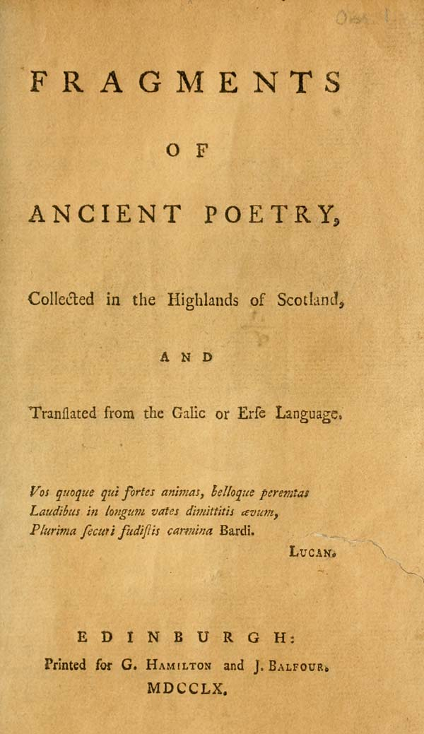 Title page: Fragments of ancient poetry, collected in the Highlands of Scotland, and translated from the Galic [sic] or Erse language (Edinburgh, 1769)