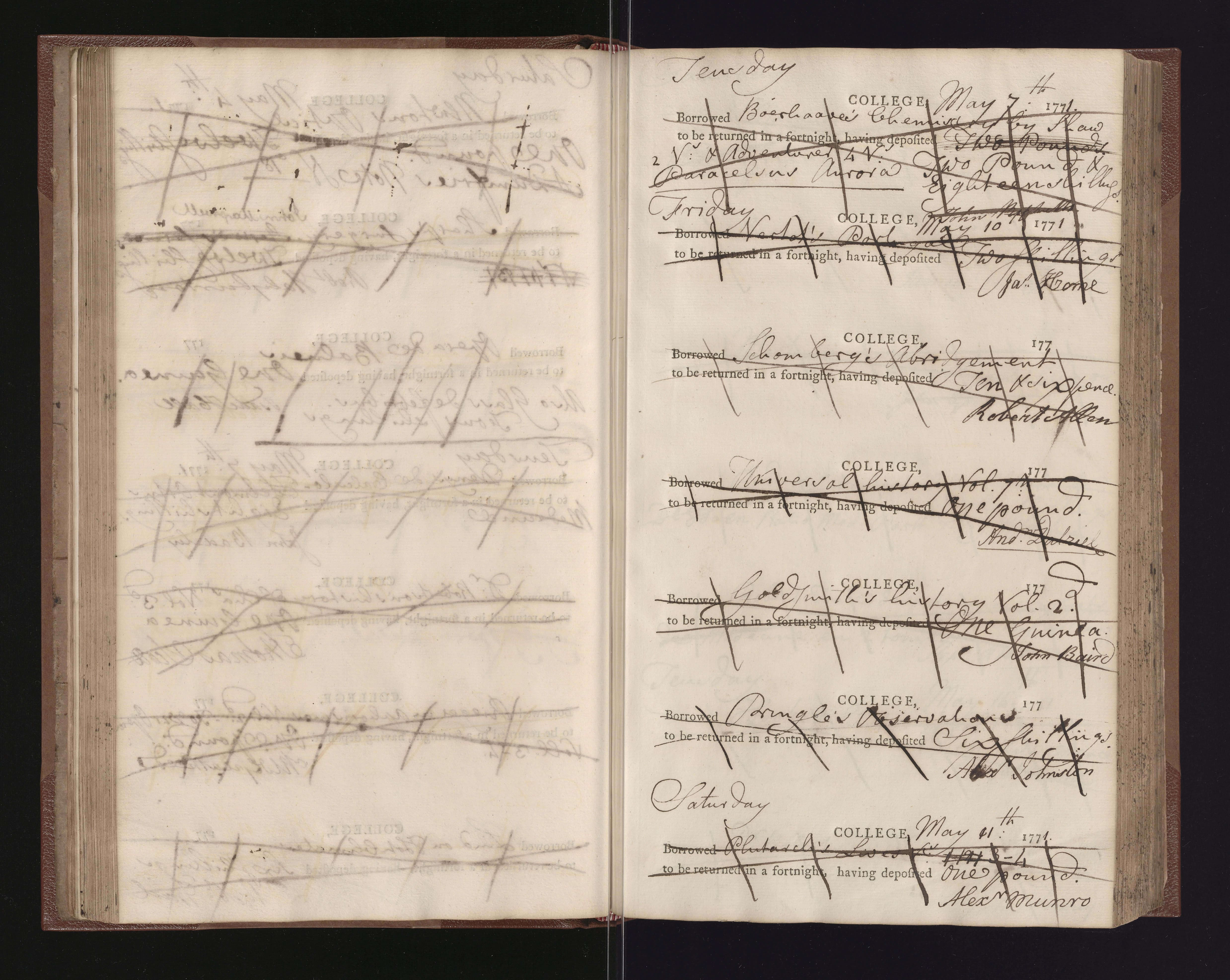 EUL Da.2.9, f. 60 - pro forma register from May 1771