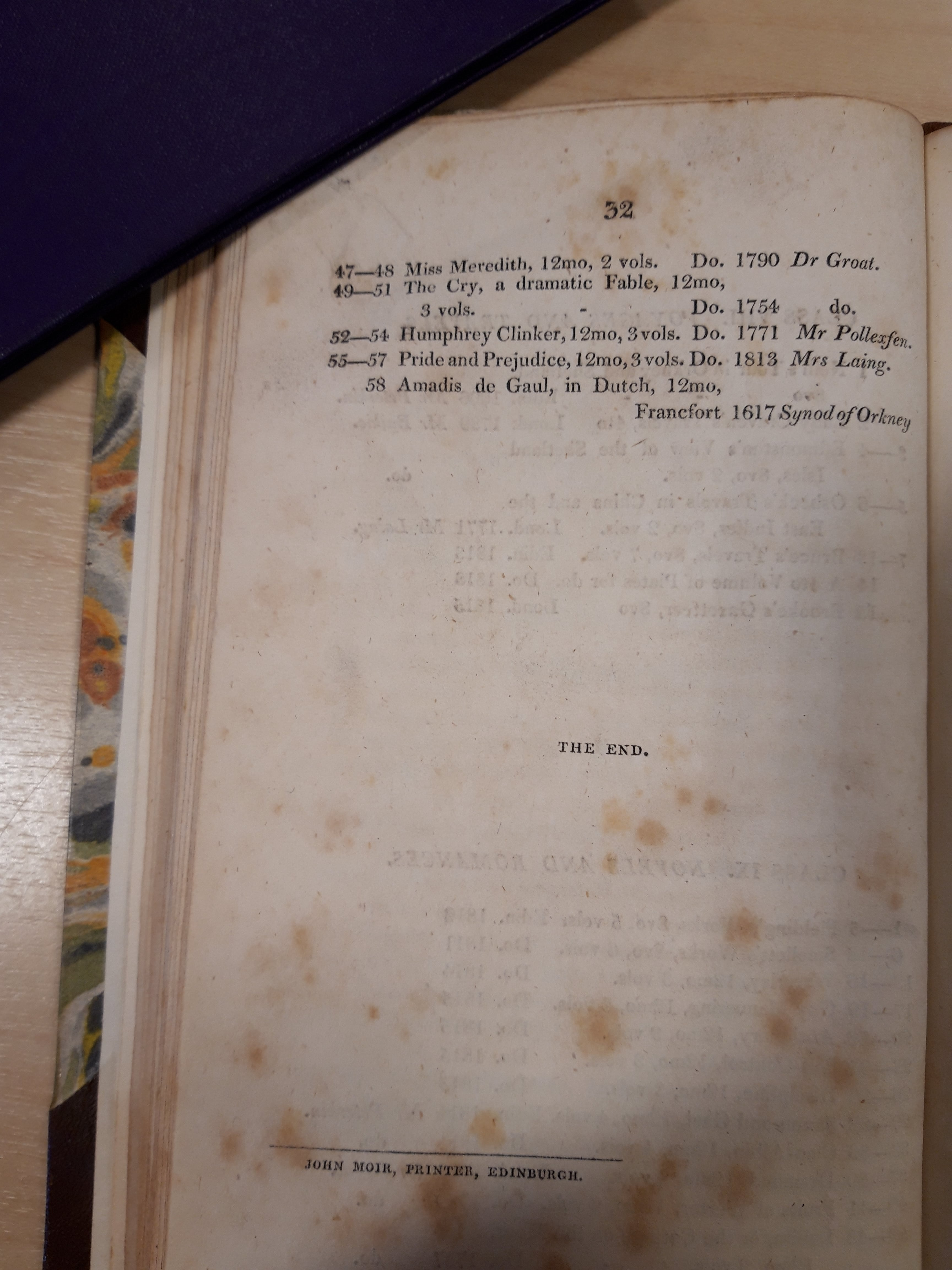 Library catalogue page showing entry for Pride and Prejudice
