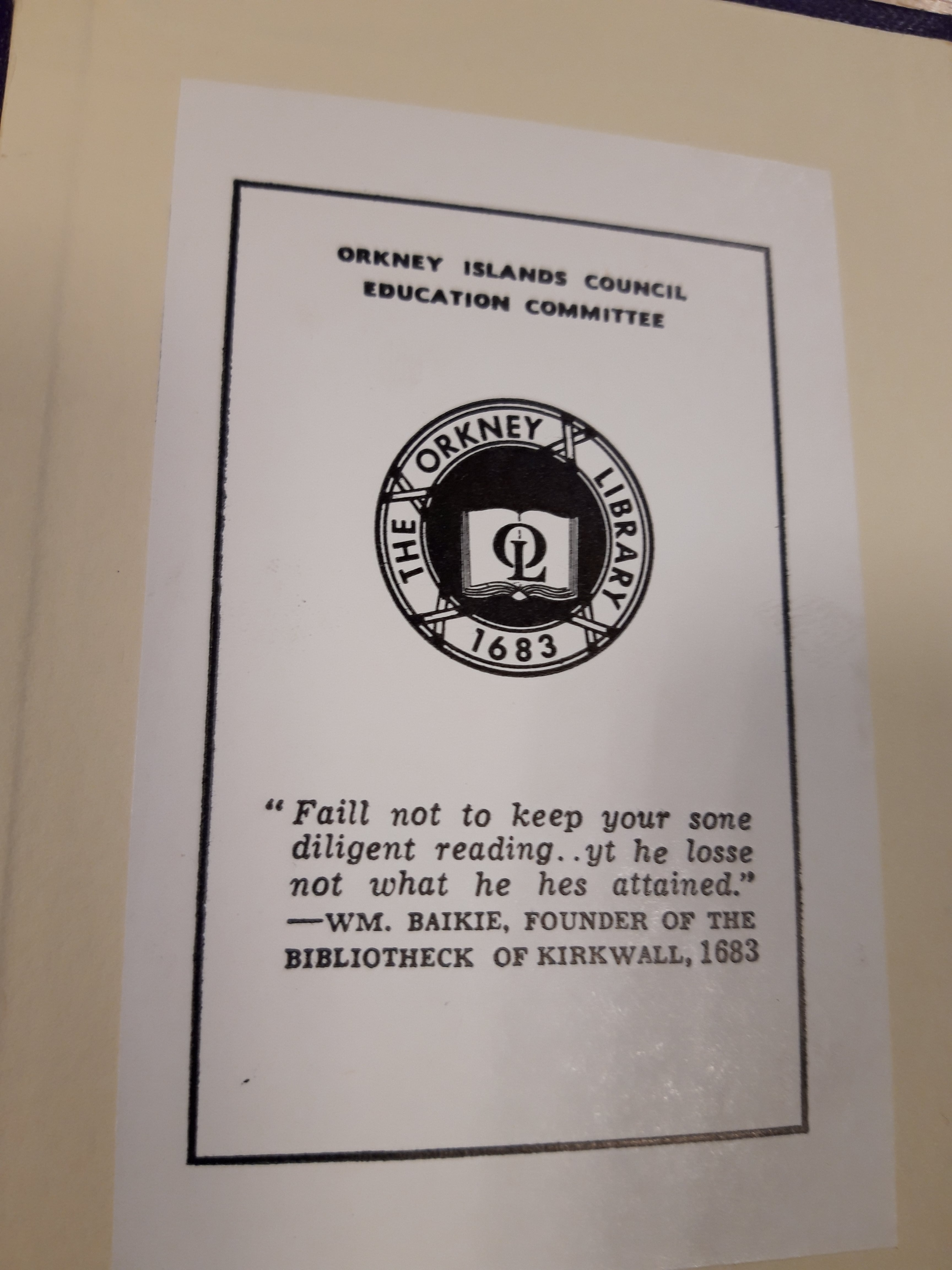 Bookplate of Orkney Library