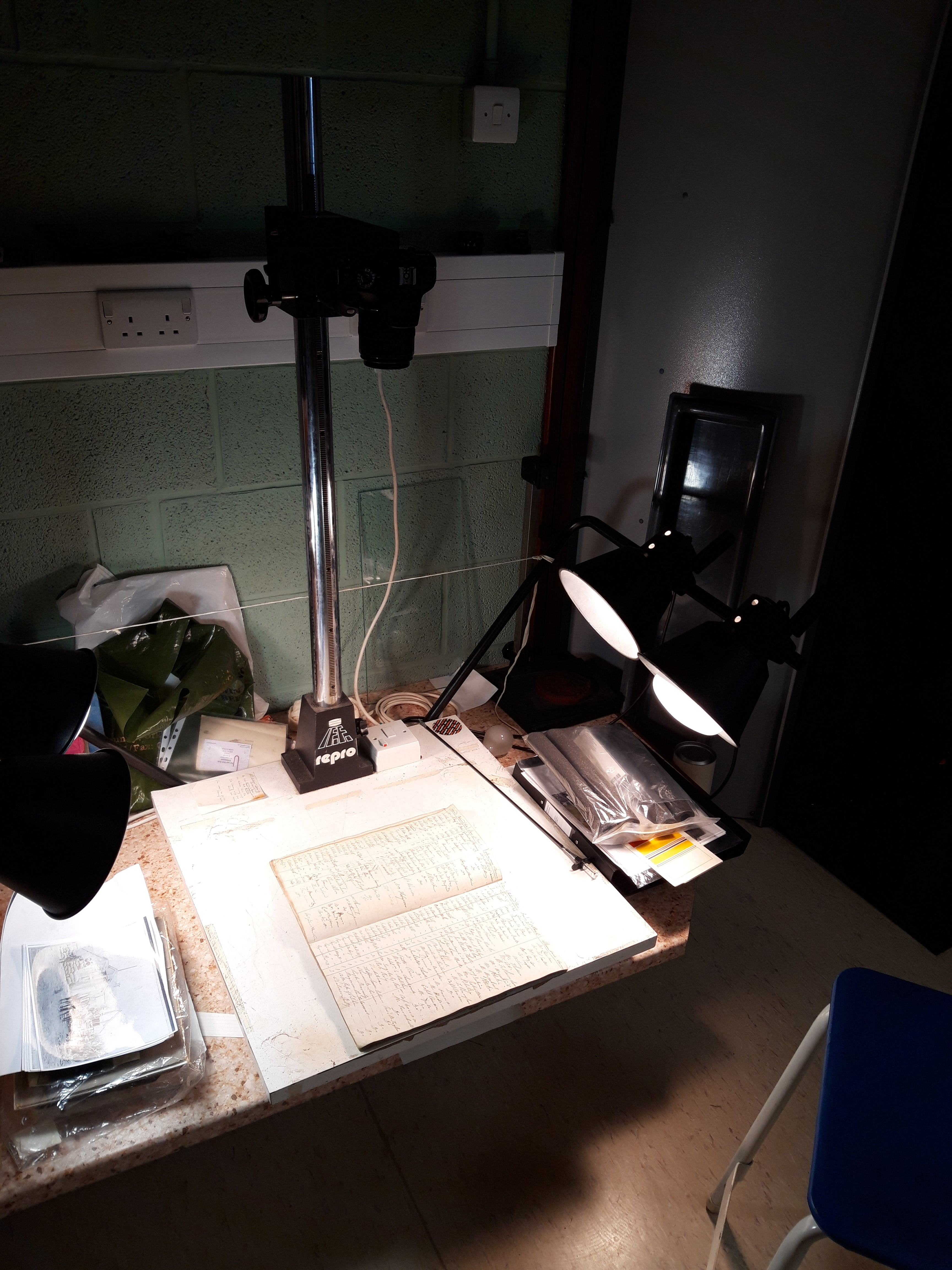Photo showing the technical set up used to photograh the Orkney borrowers' registers